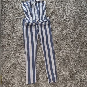 Blue and White stripe fitted gold button jumper